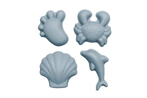 Set de 4 moules de plage - Bleu