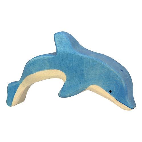Figurine en bois - Dauphin Bleu