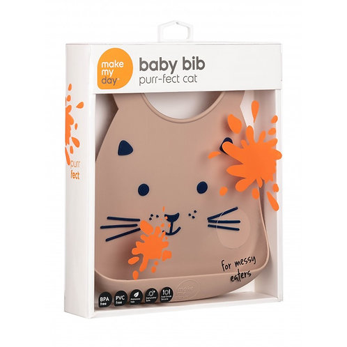 Bavoir Silicone - Chat