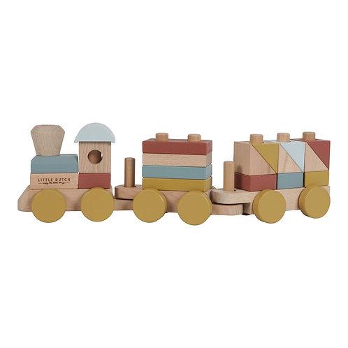 Train à blocs en bois