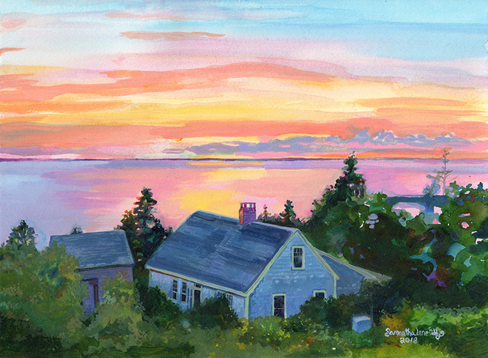 Maine Home at Sunset