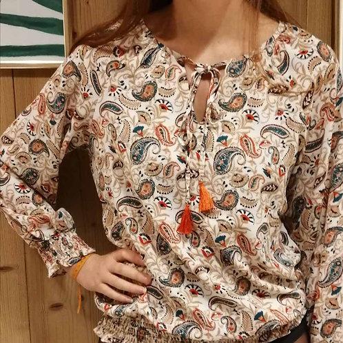 blouse smockée pompon orange