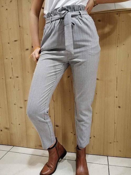 Pantalon gris clair rayé