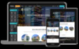Exemple de création de site internet affiché sur ordinateur, smatphone et tablette