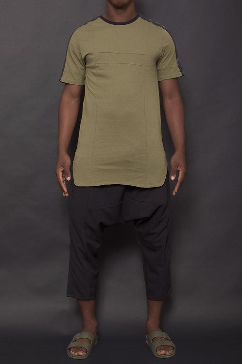 T-shirt bande Kaki