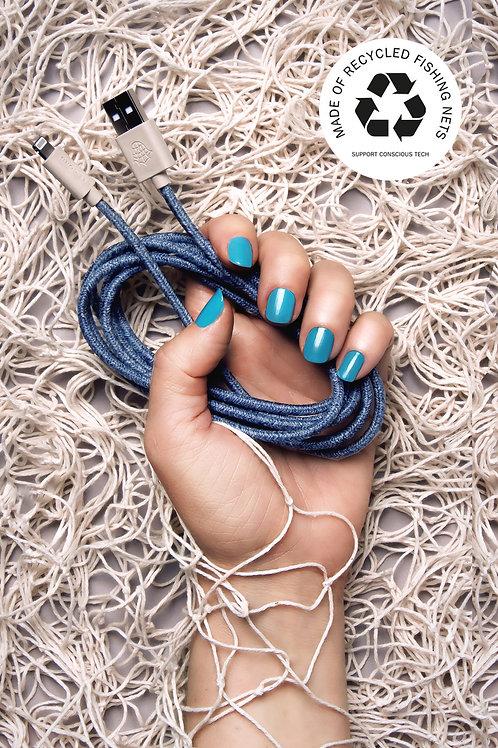 Ghost Net - Le Cord - Câble pour iPhone en matériaux recyclé (Bleu)