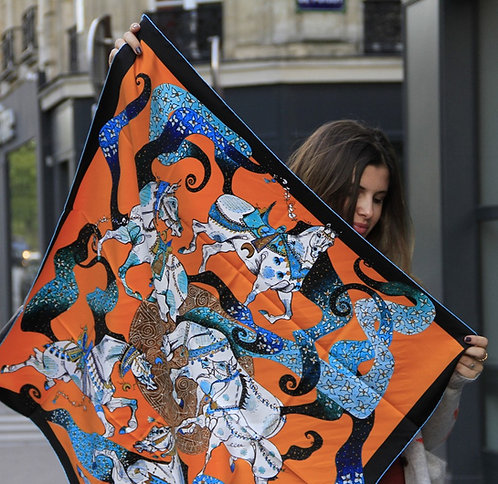 Carré de Soie ORANGE Silk Square Scarve