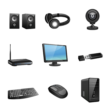 accessoires-informatiques-icones-noires-