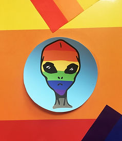 rainbow alien sticker