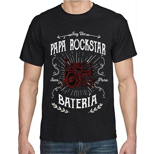 Polera Papá Rockstar Seco para la Batería