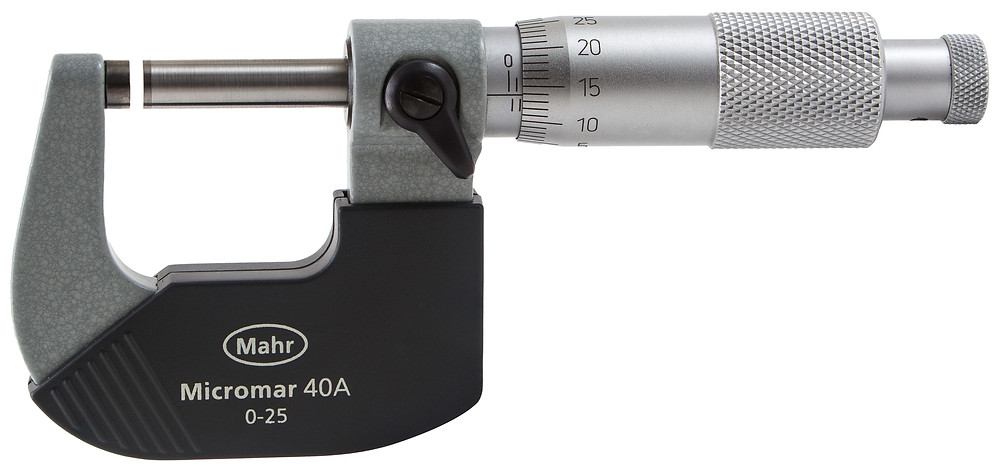 Picture of a micrometer. It has a small gauge to the right which controls a narrow gap between an adjustable screw and the handle.