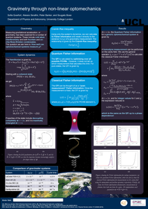 A scientific poster. The title is: Gravimetry through non-linear optomechanics. The poster has a number of equations in text-boxes, along with some figures and graphs.