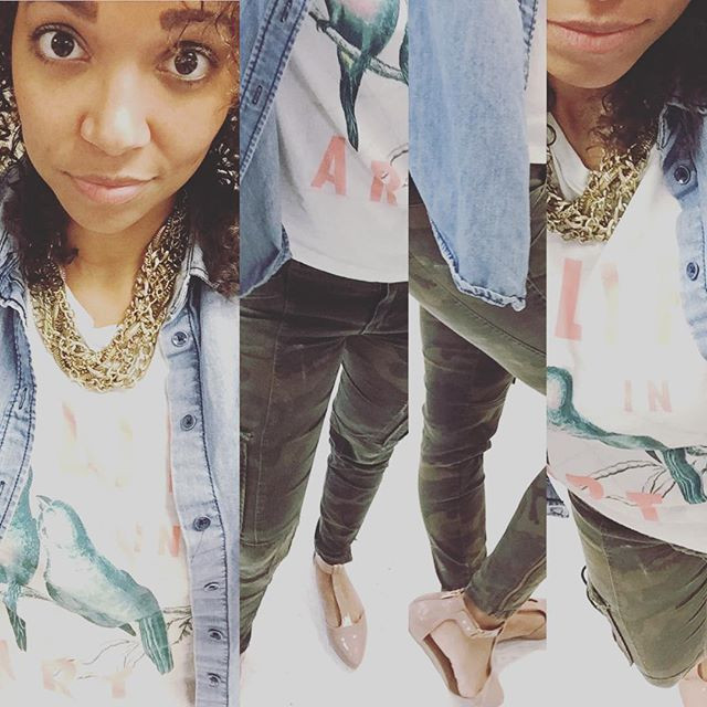 Hump day comfortable outfit. This shirt is a gift from another teacher. H&M camouflage pants and a gold chain to complete the look.