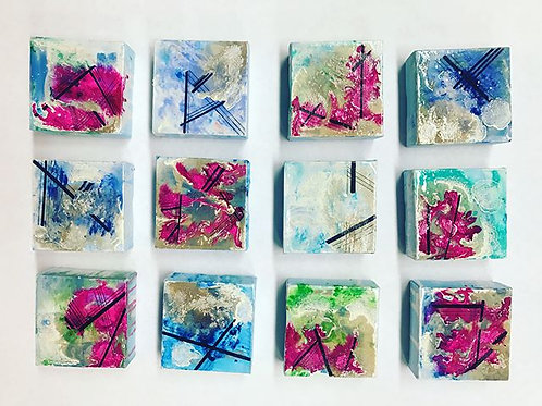 Set of 12 Abstract Paintings