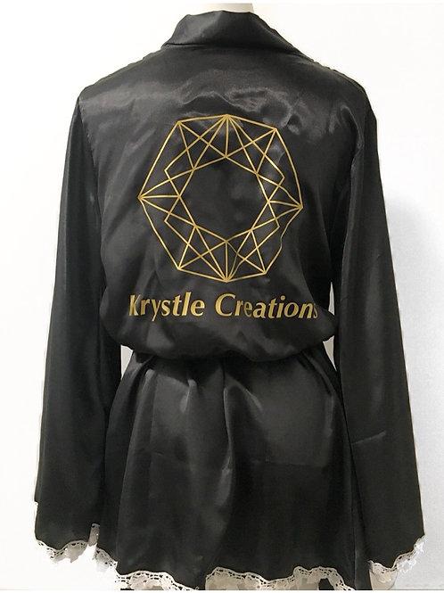 Silky branded black robe