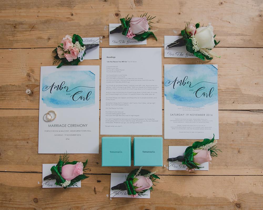 Wedding invitations Tiffany & Co theme