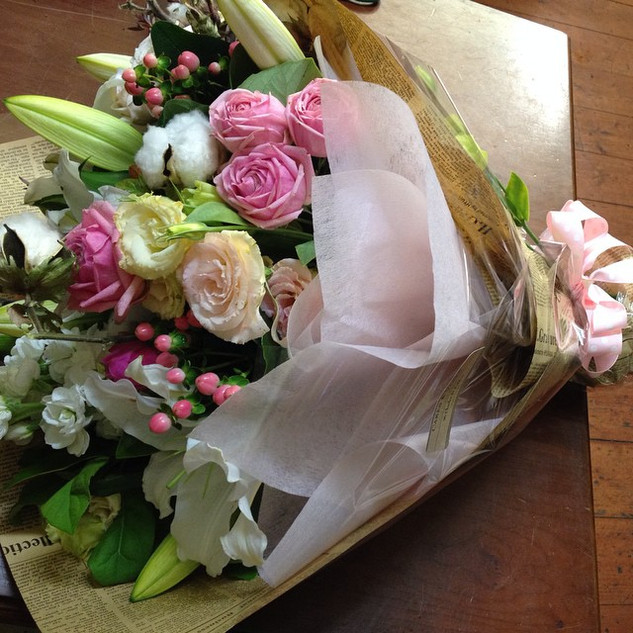 Pink and white flower delivery seddon