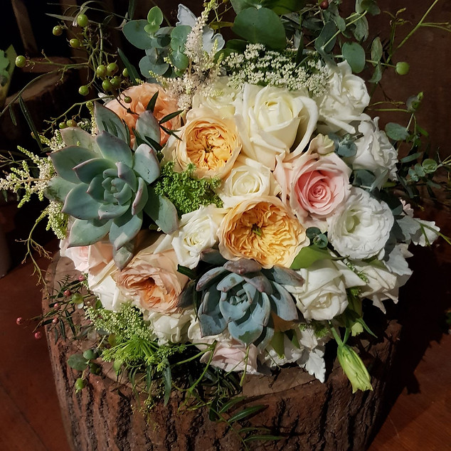 Succulent & David Austin Rose Bouquet