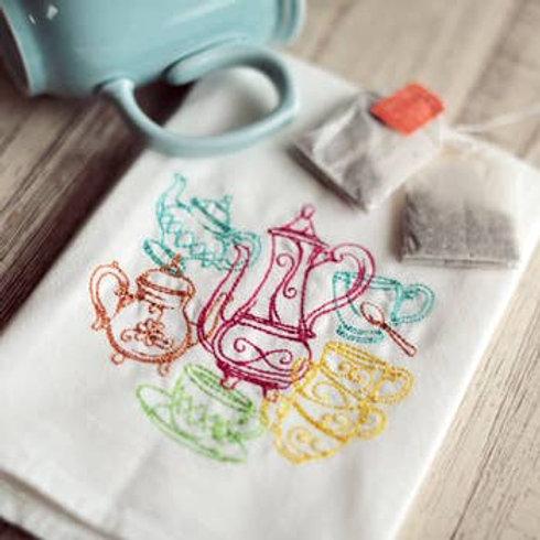 Teapots Tea Towel - Embroidered Floursack Towel