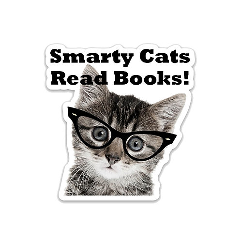 Smarty Cats Read Books Vinyl Sticker