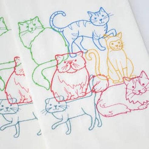 Lots of Cats Tea Towel - Embroidered Floursack Towel