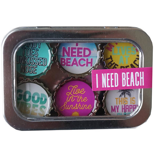 I Need Beach Magnets (6 Pack) by Kate's Magnets