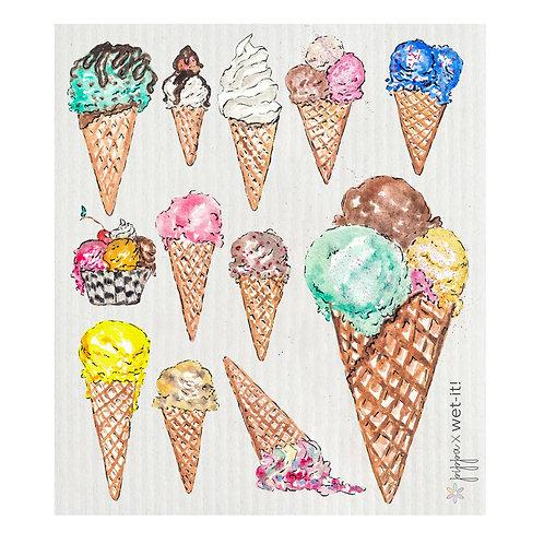 Ice Cream Cones Wet-It Swedish Dish Cloth