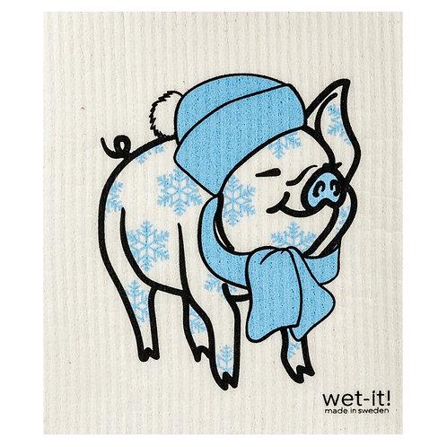 Winter Pig Wet-It Swedish Dish Cloth