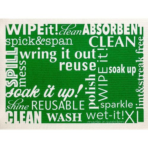 Words Green XL Wet-It Swedish Dish Cloth