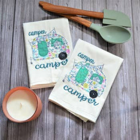 Camper Sweet Camper Tea Towel - Embroidered Floursack Towel