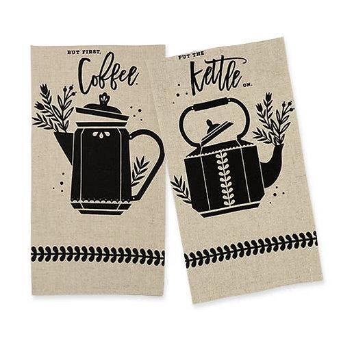 Coffee & Kettle Linen Tea Towel Set by Twine