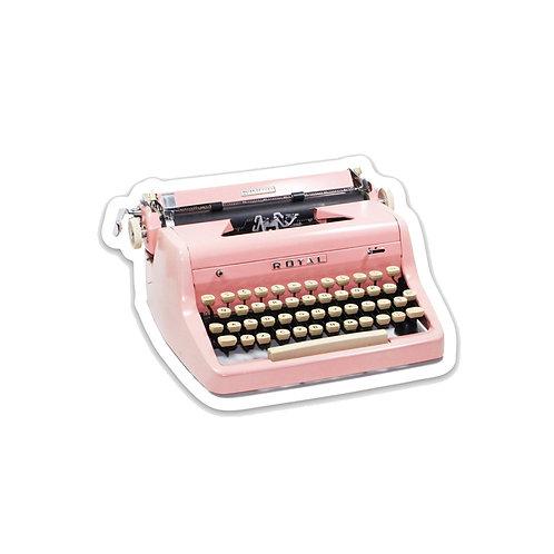 Pink Royal Typewriter Vinyl Sticker