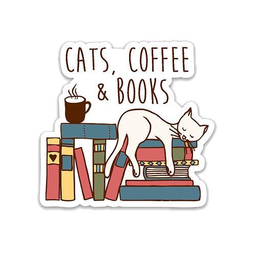 Cats, Coffee & Books Vinyl Sticker