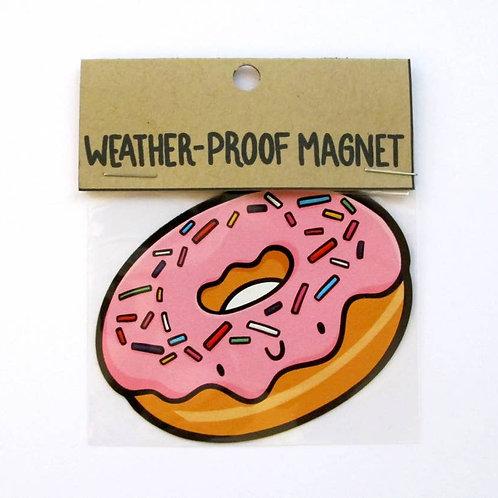 Pink Sprinkled Donut Weatherproof Magnet
