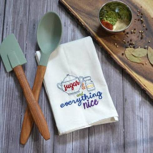 Sugar & Spice Tea Towel - Embroidered Floursack Towel (Rainbow Text)