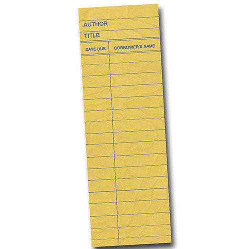 Yellow Library Card Bookmark
