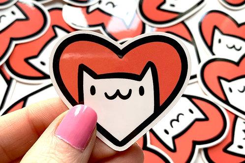 Mini Cat Heart Vinyl Sticker