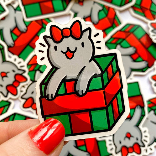Mini Christmas Gift Cat Vinyl Sticker