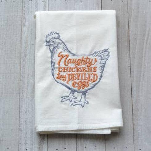 Naughty Chickens Tea Towel - Embroidered Floursack Towel (Orange)