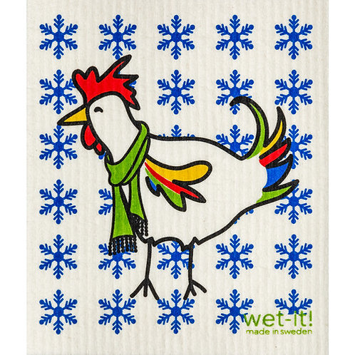 Winter Rooster Wet-It Swedish Dish Cloth