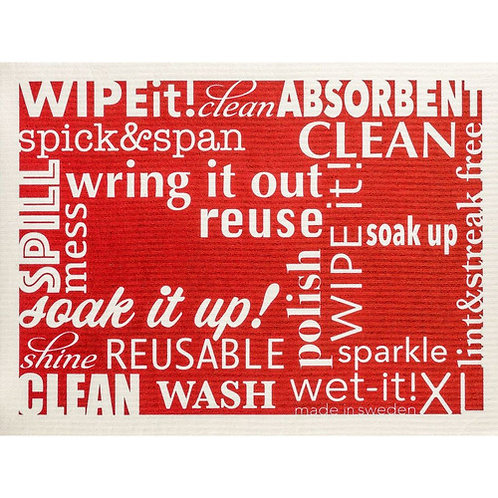 Words Red XL Wet-It Swedish Dish Cloth