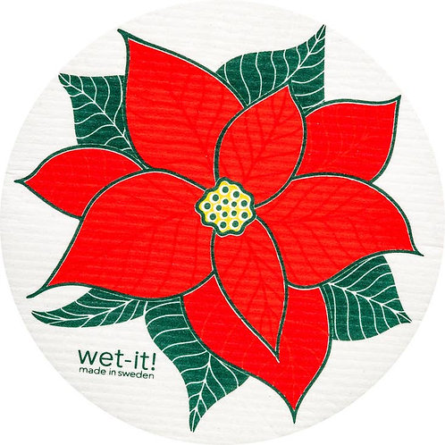 Poinsettia Round Wet-It Swedish Dish Cloth