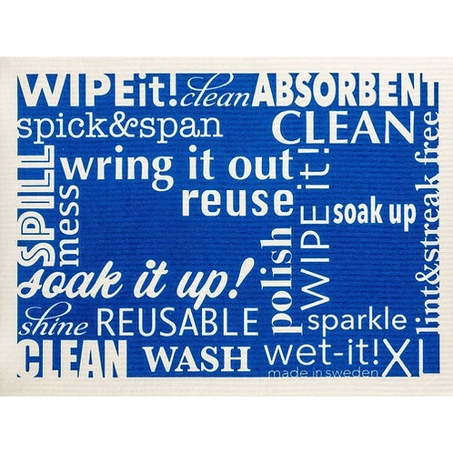 Words Blue XL Wet-It Swedish Dish Cloth