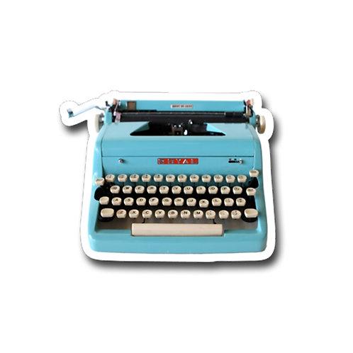 Blue Royal Typewriter Vinyl Sticker
