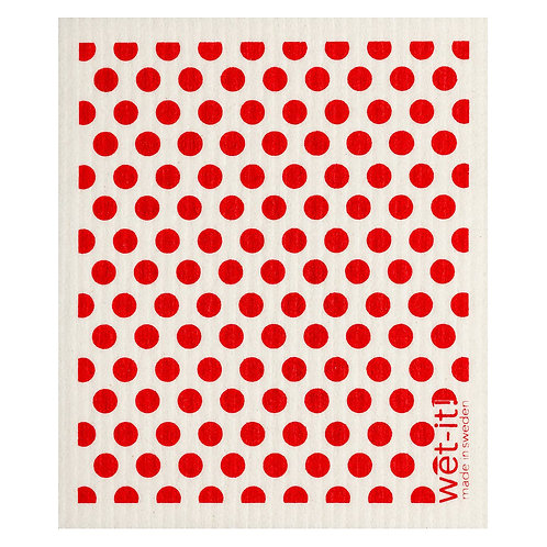 Dots and Dots Red Wet-It Swedish Dish Cloth