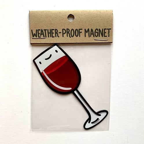 Glass of Red Wine Weatherproof Magnet