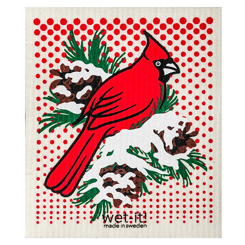 Winter Cardinal Wet-It Swedish Dish Cloth