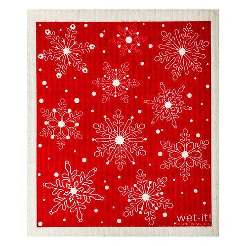 Winter Day Red Wet-It Swedish Dish Cloth