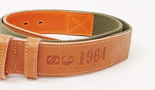 Cinturón SG1964 cuero vegetal y nylon verde militar.