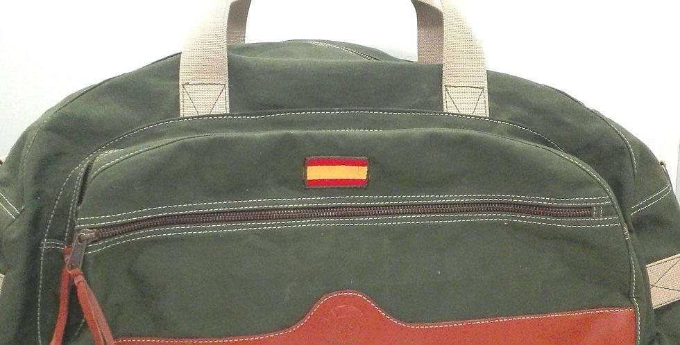 Bolso de viaje lona militar antigua y piel. PIEZA ÚNICA